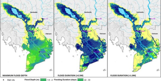 Mekong Delta average flood climate change 2050 depth and duration