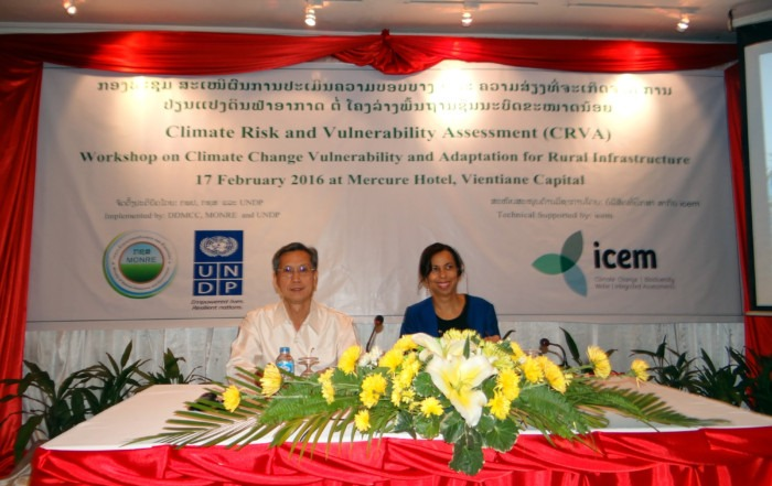 Mr Phouvong Luangxaysana, Director-General of DDMCC; Dr Margaret Jones-Williams, UNPD Environment Theme Leader