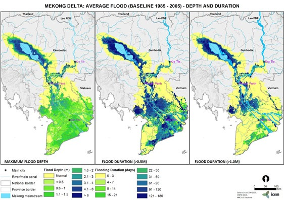Mekong Delta average flood baseline 1985-2005 depth and duration