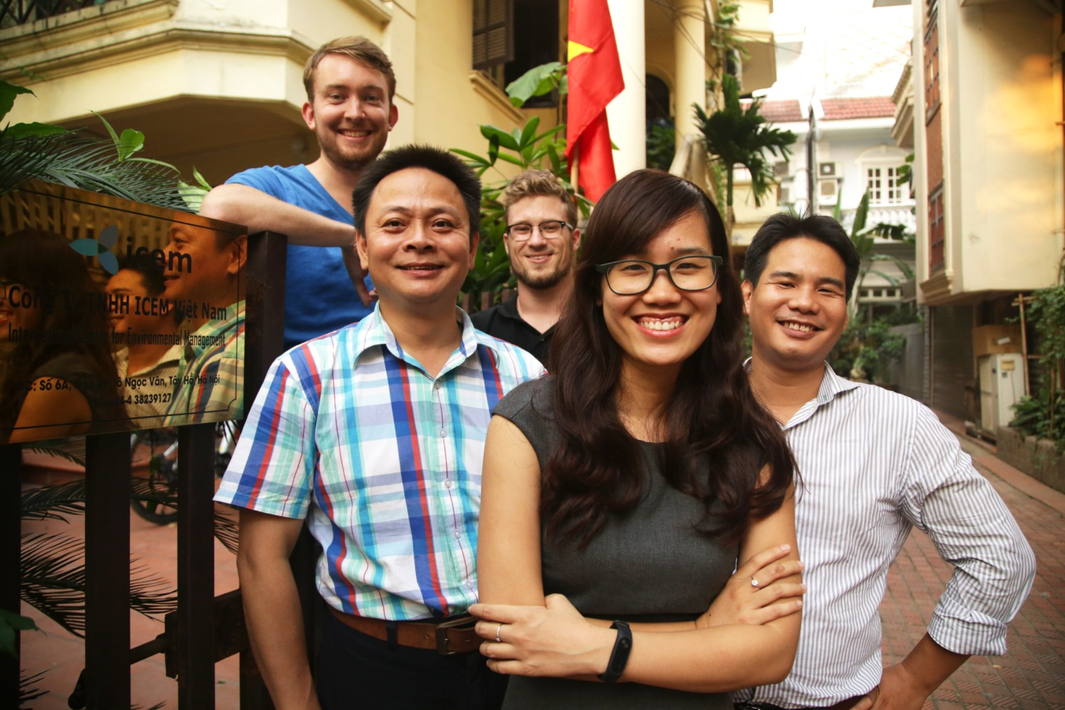 The ICEM GIS and modelling team (from left to right): Rens Hasman, Vinh Mai, Taylor Winchell Thuy Nguyen and Minh Pham